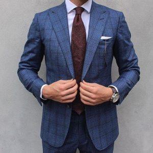 7 Plaid Light Steel Blue Suit