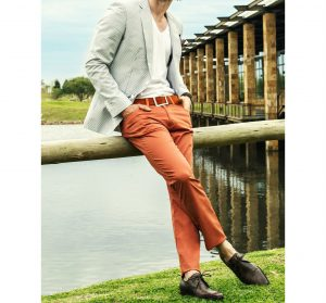 8 A Blazer & Brown Trousers