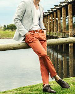 8 A Blazer & Brown Trousers
