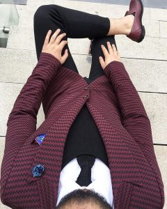 8 Black and Red Striped Blazer