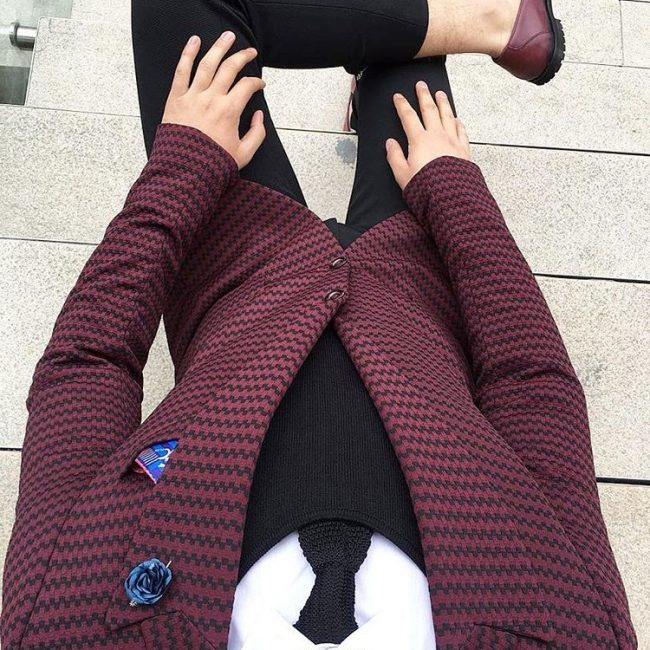 8 Black and Red Striped Blazer