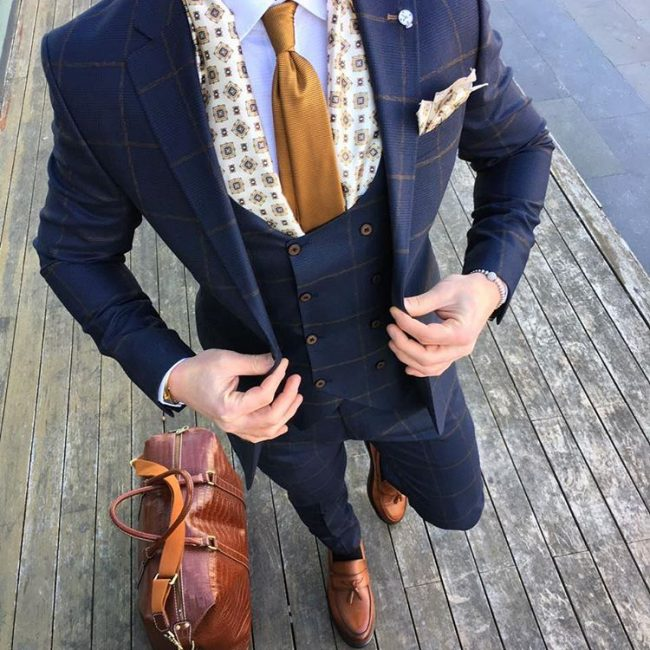 8 Blue with Orange Stripes Suit Vest