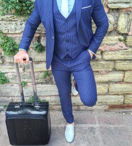 8 Classy Royal Blue White-Striped 3-Piece Suit