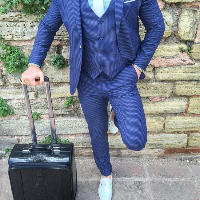 8 Classy Royal Blue White-Striped 3-Piece Suit