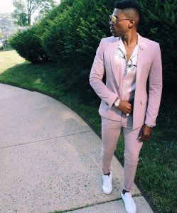 8 Light Pink Fitted Single Button Suit