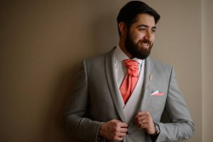 8 Pink Cravat & Dark Grey Suit