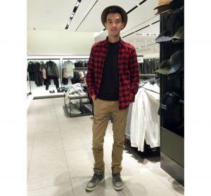 8 Red-Black Shirt & Brown Pants