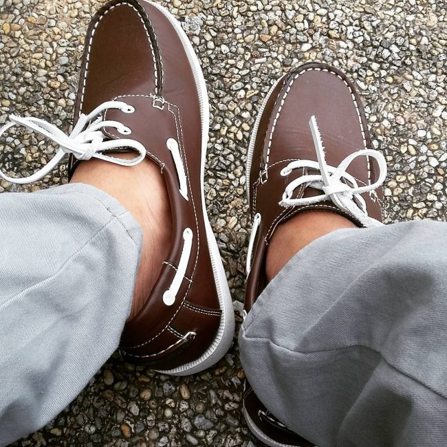 8 White- Laced Brown Shoes and Gray Chino Pants