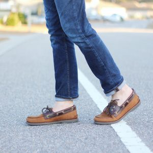 9 Brown Gamusa Shoes and Straight Cut Denim Jeans