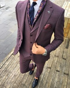 9 Cloth Purple Pin Stripe Suit Vest