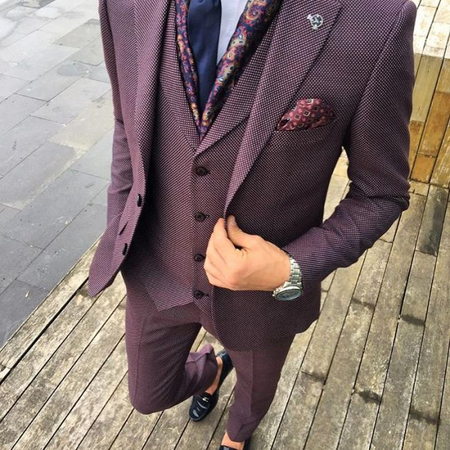 9 Cloth Purple Pin Stripe Suit Vest