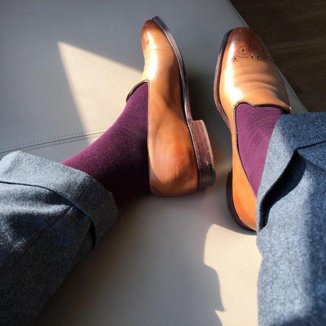9 Gray Wool Pants & Brown Designer Loafers