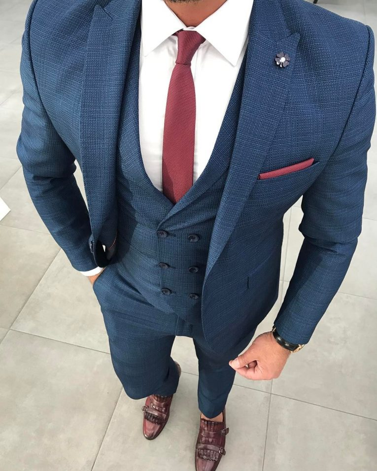 Royal blue jacket and white pants