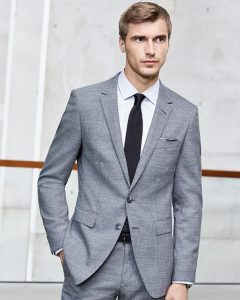 1 Single-Breasted Gray Fitted Suit