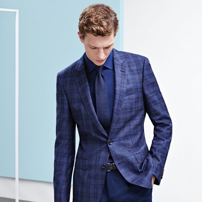 10 Royal Blue Pants & Fitted Plaid Blue Jacket Suit