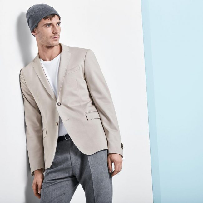 13 Gray Pants & Beige Regular Fit Jacket Suit