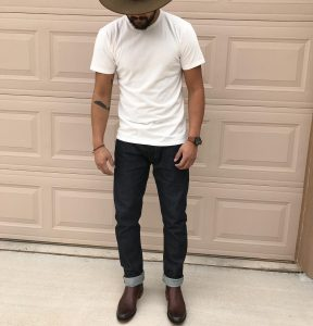 17 Chocolate Brown Boots with Selvedge