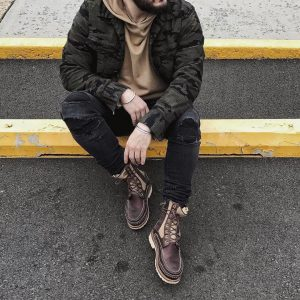 23 Beige-Brown Laced Up Designer Boots