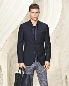 23 Grid Print Pants & Navy Blue Jacket Suit