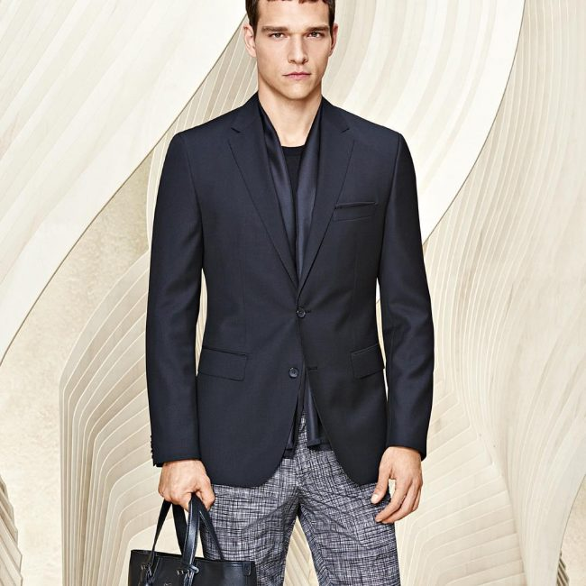 23 Grid Print Pants & Navy Blue Jacket Suit