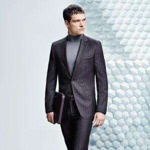 25 Slim Fit Dark Blue Striped Suit