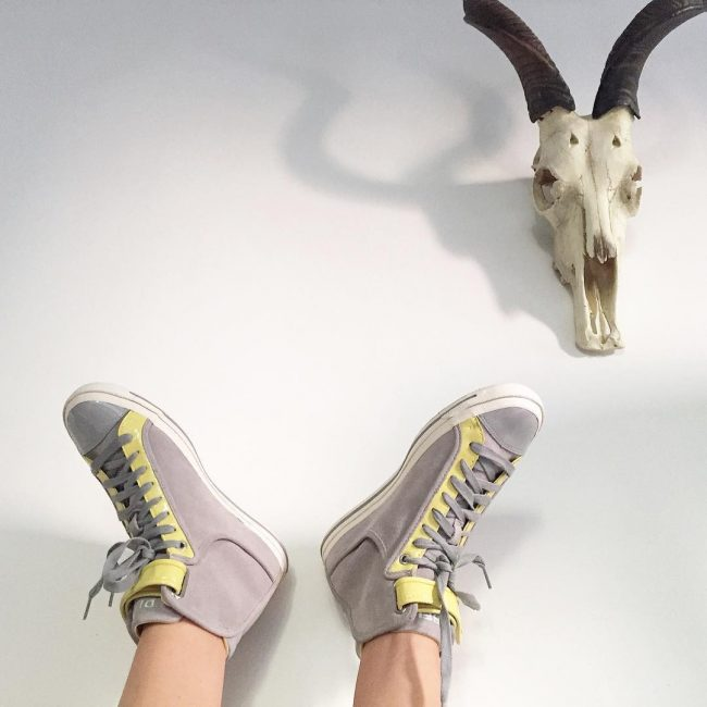 29 Light Gray-Yellow High Cut Sneakers