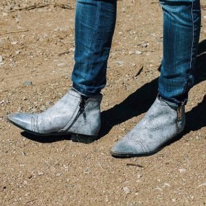 34 Flashy Gray Zipped Boots