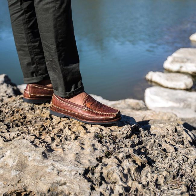7 Brown Hand Sewn Rugged Loafers