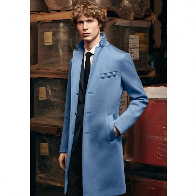 7 Fitted Black Suit & Blue Overcoat