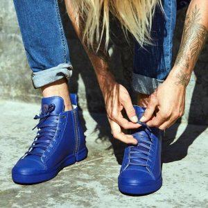 9 Zipped Blue High Top Sneakers
