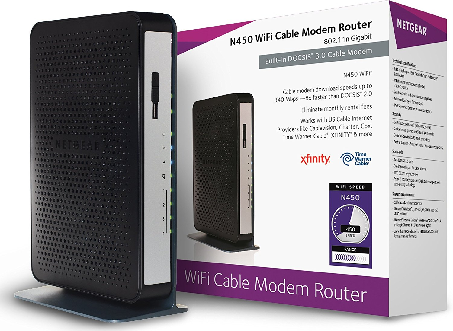 NETGEAR N450 WiFi DOCSIS 3.0 Cable Modem Router (N450-100NAS)