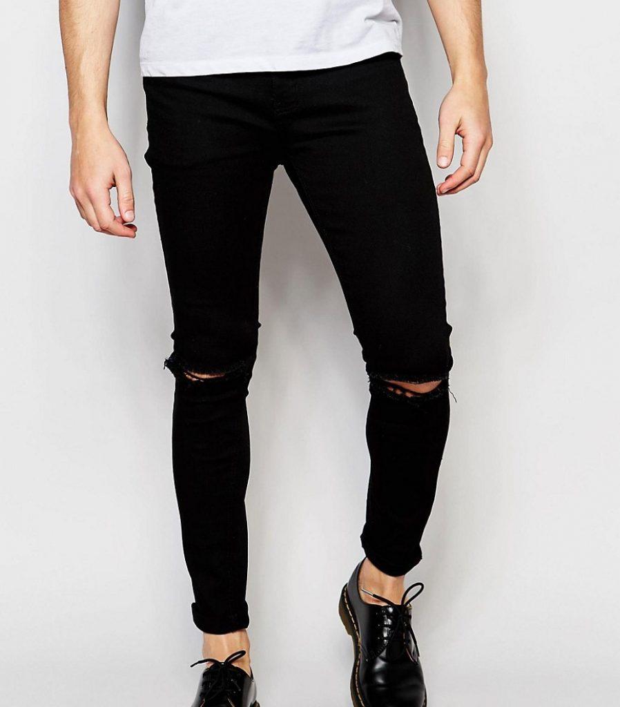 64 0 Liquor Skinny Rip Knee Jeans In Clean Black