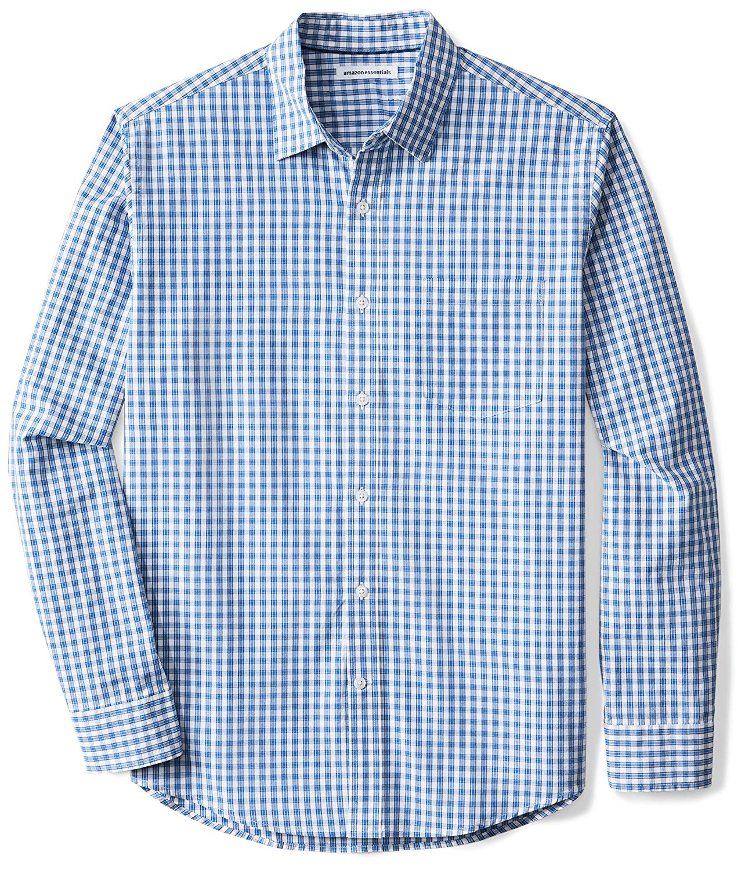Amazon Essentials Men's Regular-Fit Long-Sleeve Check Casual Poplin Shirt