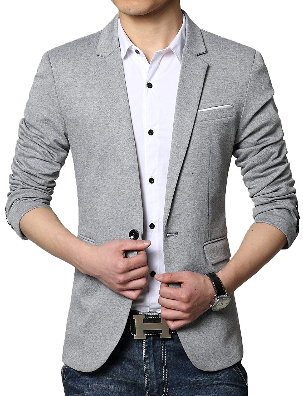 DAVID.ANN Men's Slim Fit Casual One Button Blazer Jacket