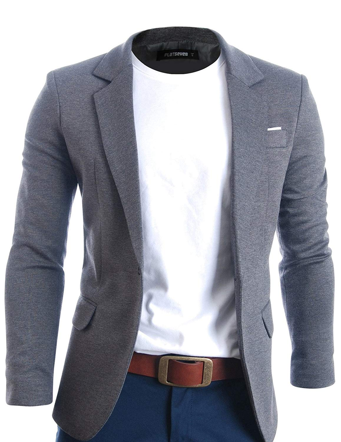 FLATSEVEN Mens Fit Casual Premium Blazer Jacket