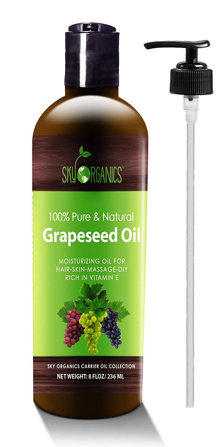 Grapeseed Oil by Sky Organics - 100% Pure, Natural & Cold-Pressed Grapeseed Oil - Ideal for Massage , Cooking and...