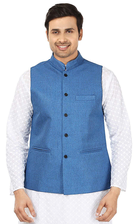 Maple Clothing Mens Sleeve Less Jute Nehru Jacket Traditional Indian Waistcoat