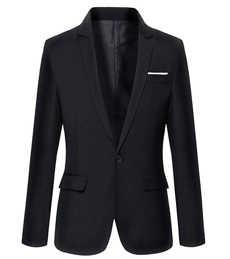 Mens Slim Fit Casual One Button Blazer Jacket
