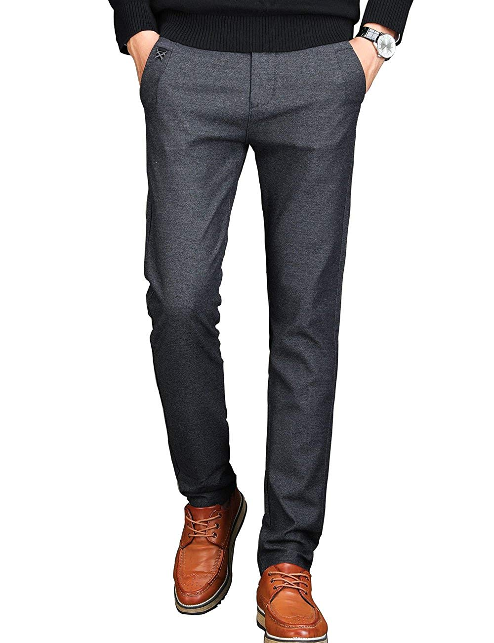 Men's Tapered Slim Fit Wrinkle-Free Casual Stretch Dress Pants,Classic Fit Flat Front Trousers