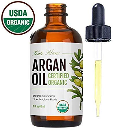 Moroccan Argan Oil (2oz), USDA Certified Organic, Virgin, 100% Pure, Cold Pressed by Kate Blanc. Stimulate Growth for Dry and...
