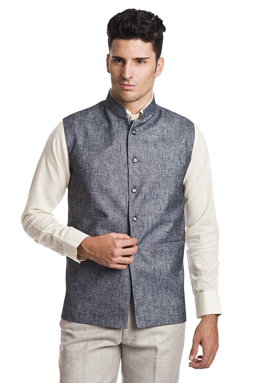 WINTAGE Men's Linen Blend Bandhgala Party Nehru Jacket Waistcoat - Four Colors