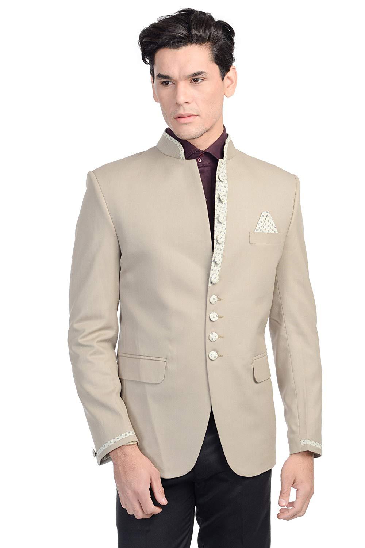 WINTAGE Men's Rayon Cotton Modified Bandhgala Nehru Mandarin Blazer - Three C.