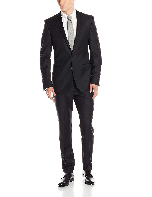 Ben Sherman Men's Camden Black Solid Two-Button Side-Vent Suit