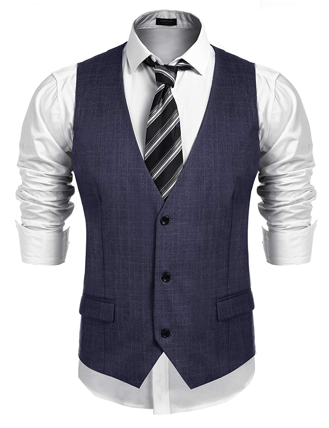 COOFANDY Men's Business Suit Vest,Slim Fit Skinny Wedding Waistcoat