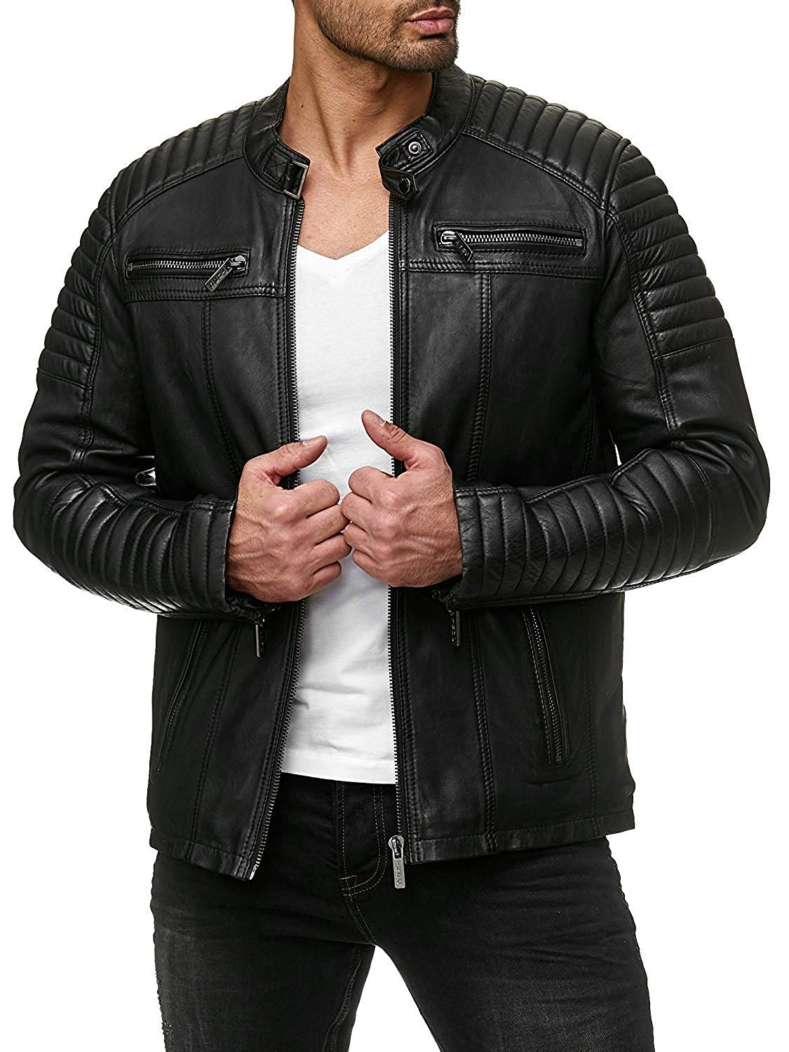 COOFANDY Men's Classic Pu Leather Motorcycle Jacket Biker Jacket Zipper Coat