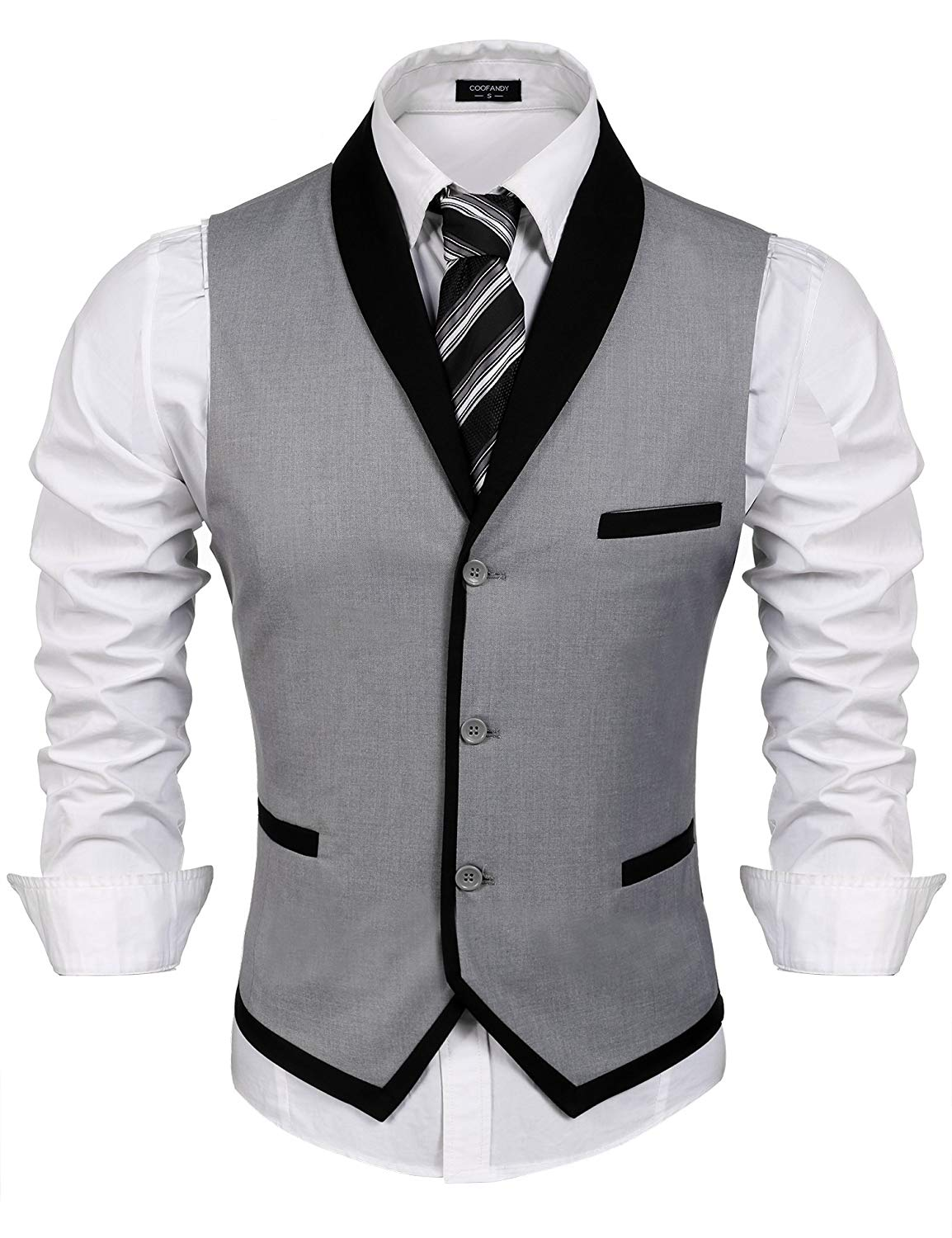 COOFANDY Men's Suit Vest Slim Fit Business Wedding Waistcoat
