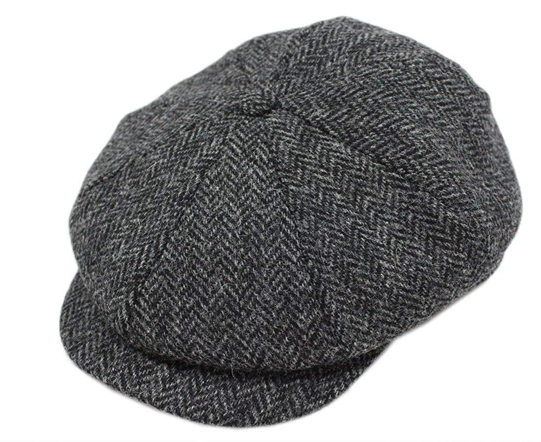 John Hanly Blinder Hat Wool Charcoal Herringbone Made in Ireland