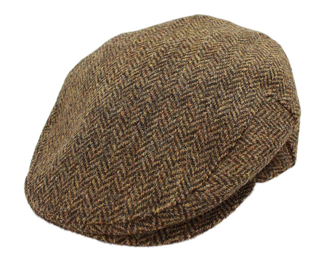 John Hanly Mens Flat Cap Brown Herringbone 100% Wool Made in Ireland