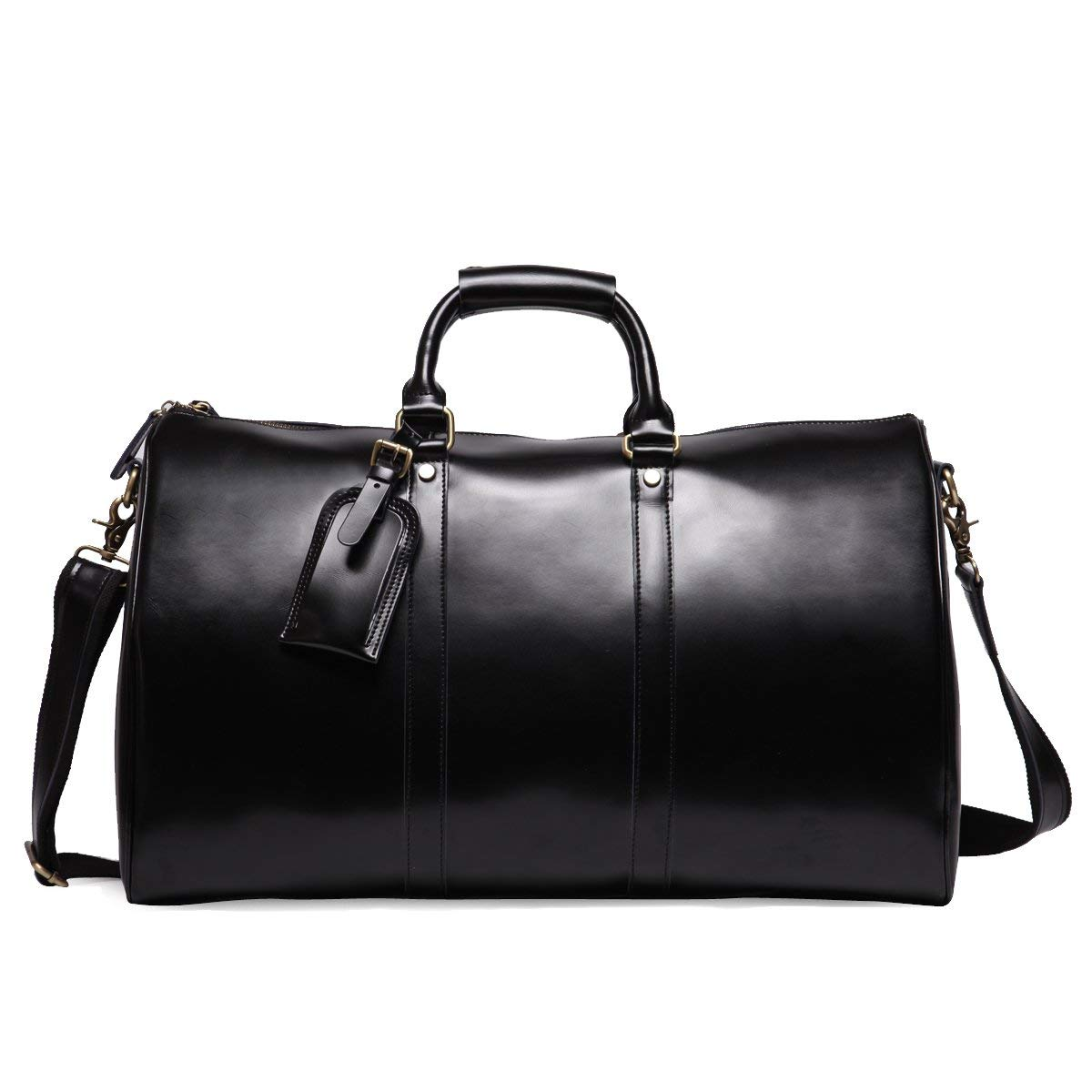 Leathario Mens Genuine Leather Overnight Travel Duffle Overnight Weekender Bag Luggage Carry...