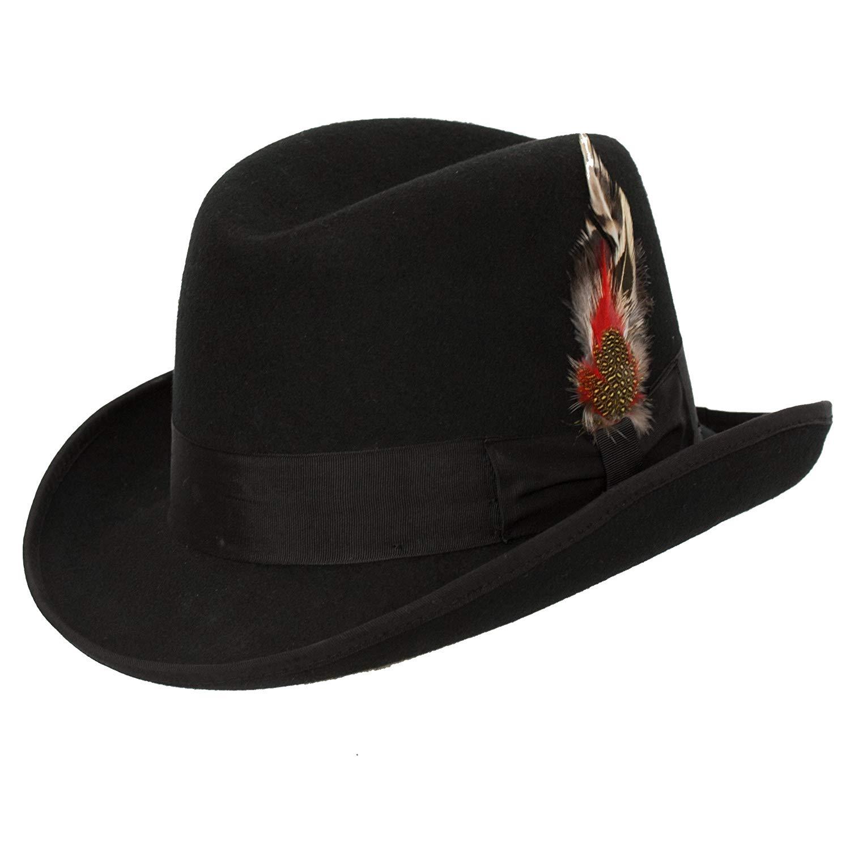 Levine Hat 9th Street Charles Firm Felt Homburg Godfather Hat 100% Wool